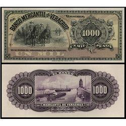 El Banco Mercantil De Veracruz Proof Banknote.