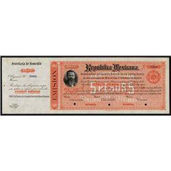 Republica Mexicana - Compania Constructera Nacional Mexicana Specimen Banknote.