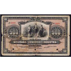 Banco Mexicano De Comercio E Industria Specimen Banknote.