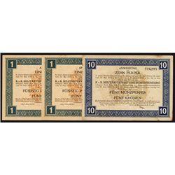 K.u.K. Militarverwaltung, Army Administration 1917 Convertible Voucher Issue, Trio.