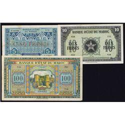 Banque D'Etat Du Maroc, 1920 to 1943 Banknote Trio.