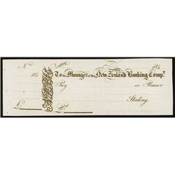 New Zealand Banking Comp. Unissued Check of First Bank in New Zealand.