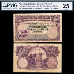 Palestine Currency Board, 1929 Issue Banknote.