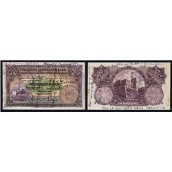 Palestine Currency Board, 1939 Issue Banknote Autographed Souvenir Note From 1946 Holy land Tour.