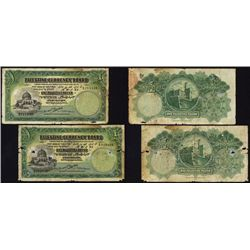 Palestine Currency Board, 1929 Issue Lot of 2 Notes.