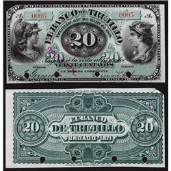 Banco De Trujillo, 1876 Issue, Low Serial Number Specimen.