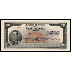 Banco Central De Venezuela, Unique Mockup Model Proof, 1961 Issue.