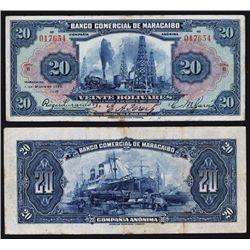 Banco Comercial De Maracaibo, 1929 Issue.
