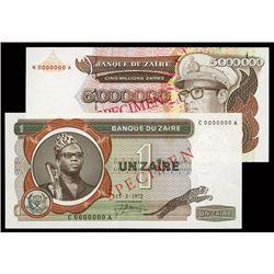 Banque Du Zaire Lot of 2 Specimen Banknotes.