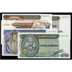 Banque Du Zaire Lot of 5 1977-92 Notes.