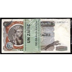 Banque Du Zaire Original Unc. Pack of 100 1977 1 Zaire, P-18b.