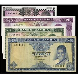 Bank of Zambia Lot of 4 Notes, 1969 to 1973 Issues.