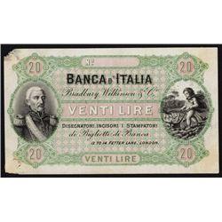 Banca D'Italia Look-alike - Bradbury Wilkinson & Co. Proof Advertising Banknote.