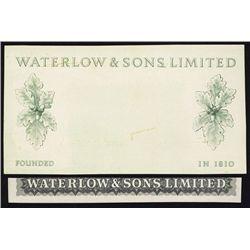 Waterlow & Sons Progress Proof Advertising Note.