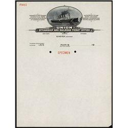 Union Steamship and Railroad Ticket Office Specimen Letterhead.