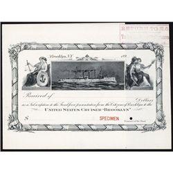 "U.S. Cruiser ""Brooklyn"" Specimen Donation Certificate by ABNC."