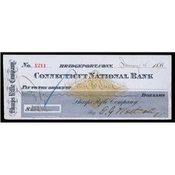 Sharps Rifle Co. Issued Check With RN-G1 Imprinted Revenue.