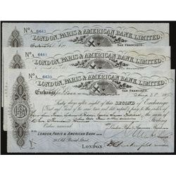 London, Paris & American Bank, Ltd Bill of Exchange Trio.