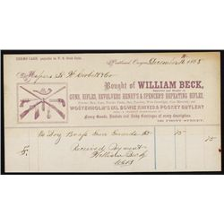 William Beck - Guns, Rifles, Revolvers, Henry's and Spencer's Repeating Rifles Letter Head.