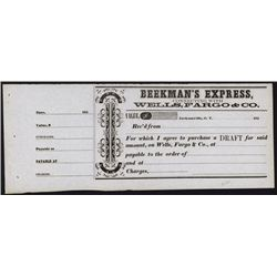 Gold Rush Related Beekman's Express Connecting With Wells, Fargo Draft Purchase Receipt.