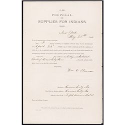 "Supplies for Indians, ""Rosebud Agency"" Proposal, 1884 For 8000 Head of Cattle."