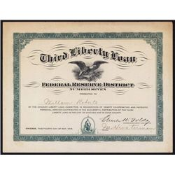 Third Liberty Loan - Federal Reserve District Number Seven Participation Certificate.