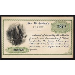 George W. Casilear's 1871 Anti Counterfeiting Ad Card.