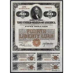 U.S. $50 Fourth Liberty Loan, 4 1/4% Gold Bond of 1933-1938.