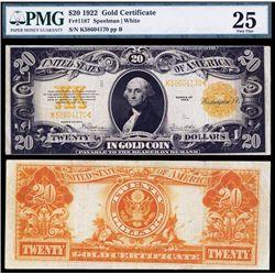 U.S. Gold Certificate, $20, 1922, Fr.#1187 Banknote.