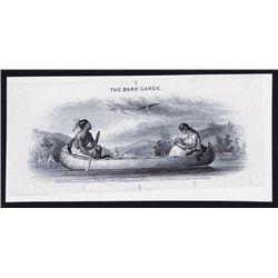 Bark Canoe, Proof Vignette used on Obsolete Banknotes