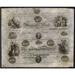Mechanics Bank, Connecticut, Uncut Obsolete Banknote Sheet.