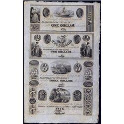 Fairfield County Bank and Morgan Ketchum & Co. Uncut Sheet of 4 Notes.