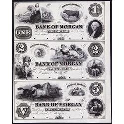 Bank of Morgan, ca.1857 Obsolete Proof Sheet Trio.
