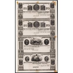 Planters Bank of the State of Georgia, Unique ca.1830's Obsolete Proof sheet of 4.