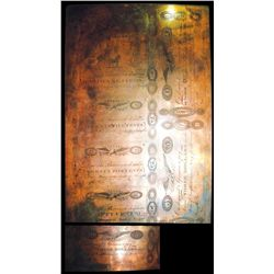 Town Of Forsythe, Georgia 1820's Obsolete Copper Printing Plate Engraved by William Kneass.