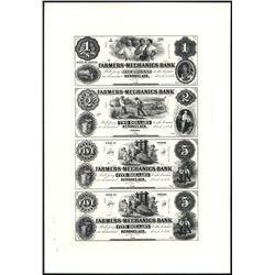Farmers and Mechanics Bank Uncut Reprint Proof Sheet of 4.
