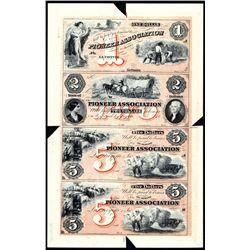 Pioneer Association Uncut Sheet of 4 Proprietary Proofs.