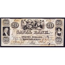 Canal Bank - New Orleans Canal & Banking Co. Rare Issued Banknote.