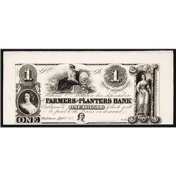 Farmers and Planters Bank Baltimore, ca.1830's Obsolete Proof.