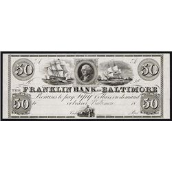 Franklin Bank of Baltimore, 1830-40's Proof Obsolete Banknote.