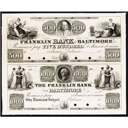 Franklin Bank of Baltimore, 1830-40's Uncut Proof Sheet of 2.
