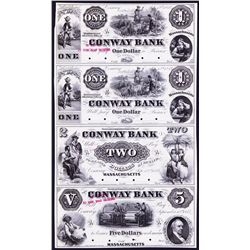Conway Bank, 1854 Obsolete Proof Sheet of 4.