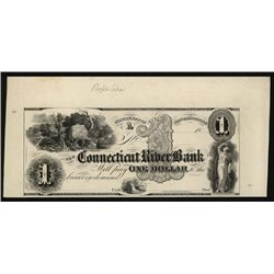 Connecticut River Bank ca.1830's Obsolete Proof.