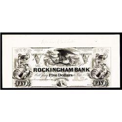 Rockingham Bank ca.1830's Obsolete Proof.
