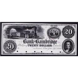 Bank of Bainbridge, 1852 Proof Obsolete Banknote.