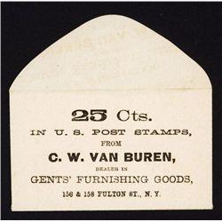 C.W. Van Buren, 25 Cts In U.S. Post Stamps Envelope Fractional Currency Era.