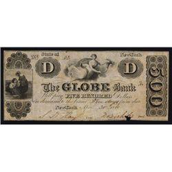 Globe Bank, $500 NY 1840 Obsolete Banknote.