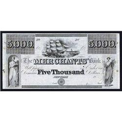 Merchants' Bank, $5000, ca.1830's Obsolete Proof.