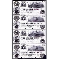 Nassau Bank, ND 1850's Uncut Sheet of 4 Proof Obsolete Banknotes.