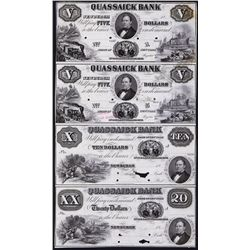 Quassaick Bank, 1850's Uncut Proof Sheet of 4.